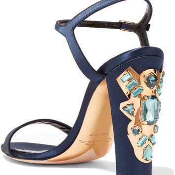 Oscar de la Renta Lemmy embellished satin sandals – 60% at THE OUTNET.COM