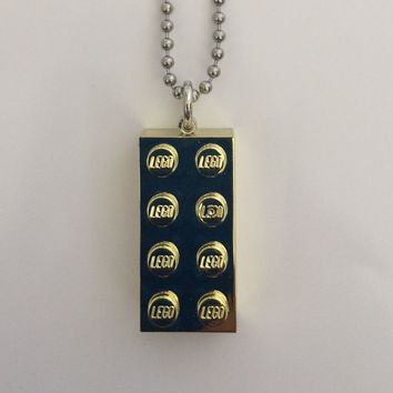Lego Brick Necklace - Available in Gold, Red, Pink, Purple, Turquoise or Blue