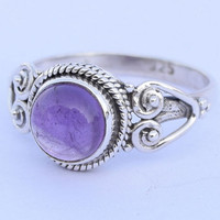 Sterling Silver Amethyst Ring, Sterling Silver Amethyst stone gemstone  Ring, Amethyst Silver Ring, size us 4 5 6 7 8 9 10 size uk  l m n o