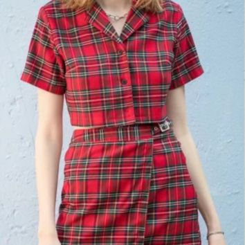 Summer new fashion casual suit Retro lapel plaid shirt + houndstooth skirt two-piece suit