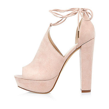 Pink suede block patform heels - sandals - shoes / boots - women