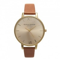 Olivia Burton Big Dial Tan and Gold OB13BD09