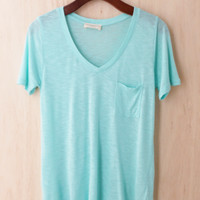 Perfectly Imperfect One-Pocket Shabby Tee, Mint #2