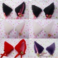 New Cosplay Party Anime Costume Cat Fox Ears Long Fur Hair Clip Pair # 48328-in Hair Accessories from Apparel & Accessories on Aliexpress.com