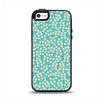 The Blue and Yellow Floral Pattern V43 Apple iPhone 5-5s Otterbox Symmetry Case Skin Set