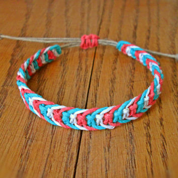 Fishbone Knot Bracelet, Coral and Teal Bracelet, Simple Hemp Bracelet, Natural, EcoFriendly Jewelry, Surfer Bracelet, Friendship Bracelet
