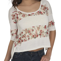 Floral Lace Inset Tee | Shop Tops at Wet Seal