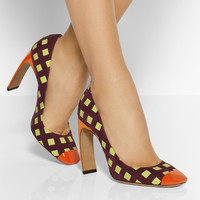Nicholas Kirkwood|Printed suede and patent-leather pumps|NET-A-PORTER.COM