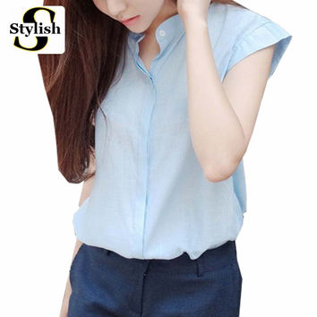 2016 Women Blouse Cotton Linen Summer Bew Fashion Casual Korean Style White/Blue Shirt Ladies Office Tops Office Clothing Femme