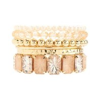Beaded, Rhinestone & Pearl Bracelets - 6 Pack - Peach