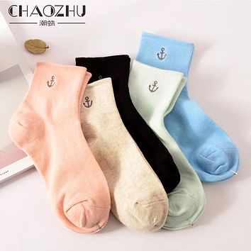 CHAOZHU Anchor Embroidery Sweet Candy Color Combed Cotton Y-heel High Quality Spring Autumn Deodorant Women Socks