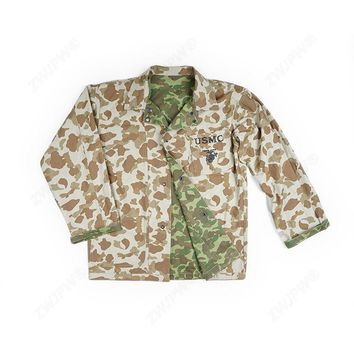 WWII US USMC SOLDIER ARMY PACIFIC CAMO MILITARY UTILITY REVERSIBLE JACKET COAT TOPS  - World military Store
