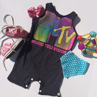 MTV upcycled toddler baby romper boy girl gender neutral