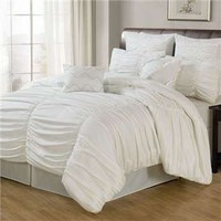 Lacozee White Venetian Ruched 8-Pc Comforter Set by LaCozee - LaCozee - Polyester