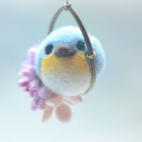 Soft sculpture wool bird jewelry, needle felt bird pendant necklace, blue bird on flower hoop pendant, whimsical jewelry, gift under 25