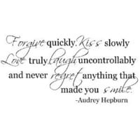 Forgive quickly Audrey Hepburn quote wall decal saying vinyl