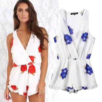 Women's Fashion Floral Print V-neck Ruffle Jumpsuit [5013329476]