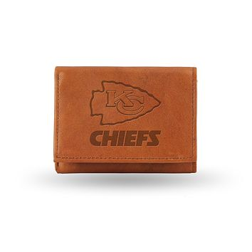 Kansas City Chiefs Embossed Genuine Cowhide Leather Trifold Wallet