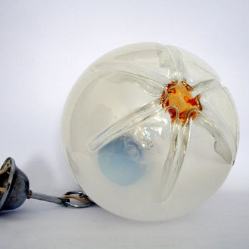 Mid century Murano pendant/ Mazzega style glass lamp/milky to clear glass globe with amber hart