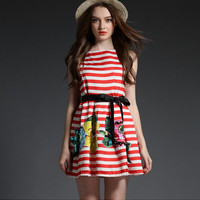 Stripe Floral Print Sleeveless Tie-Waist Pleated Dress