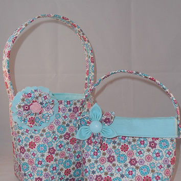 Pretty Aqua Floral Matching Little Girls Purse and Easter Basket