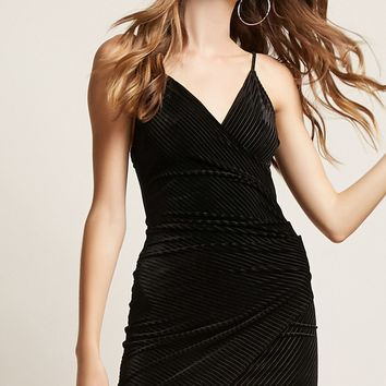 Velvet Shadow-Stripe Bodycon Dress