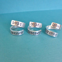 Friendship Hand Stamped Aluminum Spiral Skinny Rings Best Bitches Best Friends Main Bitch BFF Friends Forever Set of 3