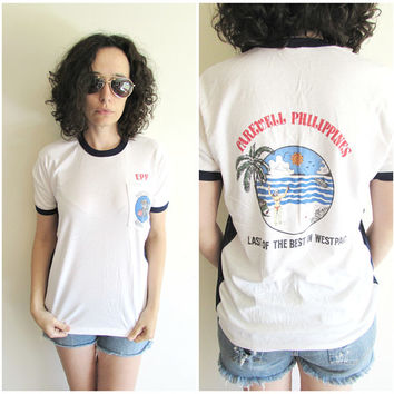 Vintage White Foo Dogs EPP Freight Liners Philippines/ Shipping/ Cargo/ Mesh Sides Pocket T Shirt