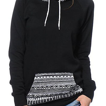 Black Hooded Long Sleeve Geometric Print Hoodie
