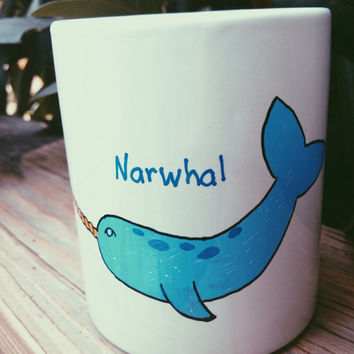 Painted Narwhal Mug by jessrechsteiner on Etsy