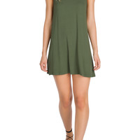 High Neck Trapeze Dress in Olive-FINAL SALE