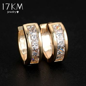 17KM High quality Gold Color Crystal Zircon Earrings big statement   Silver Color earring jewelry for women