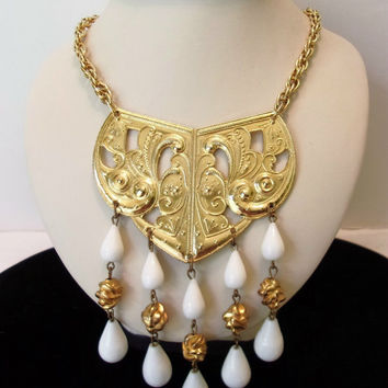 Kenneth J Lane KJL Etruscan Necklace Gold Plate White Lucite Drops Vintage 1970s