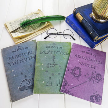 Magic A5 Notebook - Spells, Potions and Magical Vintage Books - Harry Potter Stationery - Witches & Wizards - Back to School Gifts - Fantasy