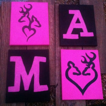 Hand Painted Canvas - Buck and Doe & Letters