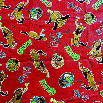 Dr Seuss Fabric Christmas Grinch Fabric with Max the Dog