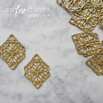 10pcs ∙ Ornate European Filigree Diamond Vintage Victorian Floral Lace Wrap Jewelry Supplies