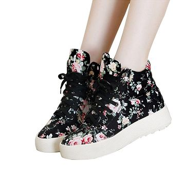 Floral Ankle Boots Platform Wedge Canvas Shoes