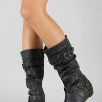 Amar-29 Slouchy Round Toe Mid Calf Boot