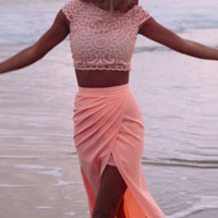 Before lace jacket + split beach skirts two-piece outfit
