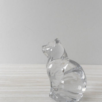 solid clear glass cat figurine paperweight by simplychi on Etsy