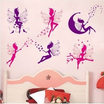 6pcs Pink Purple Fairy Silhouette Angel Wall Sticker Decal Purple Red Home Decal Mural Removable New Style Vinyl Art SM6