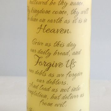 "The Lord's Prayer Inspirational LED Flameless Candle (8""x3"")"