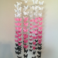 White Pink And Black Butterfly Baby Mobile