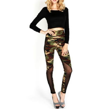 2017 Women Sexy Mesh Camouflage Leggings High Waist Patchwork Stretchy Slim Army Camo Leggings Female Leggings PY1