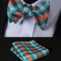 Check 100%Silk Jacquard Woven Men Butterfly Self Bow Tie BowTie Pocket Square Handkerchief Hanky Suit Set #RC2