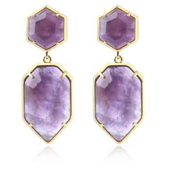 Polygons Crystal Stud Earrings - Gold Color Long Natural Stone Earring Purple White Pink Quartz Black Onyx Jewelry