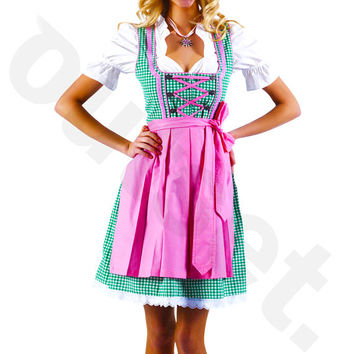 Dirndl Dress Green-Pink, Ethnic 3 Piece Oktoberfest Bavarian Trachten. Austrian, German Folk Outfit - Festival Costume, Apron and Blouse