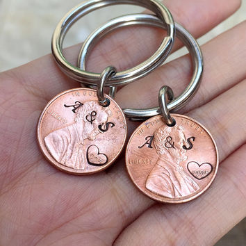 1995 Penny keychain for couples, Personalized penny keychain, 20 year anniversary gift for couples, 20th anniversary gifts for him, men gift
