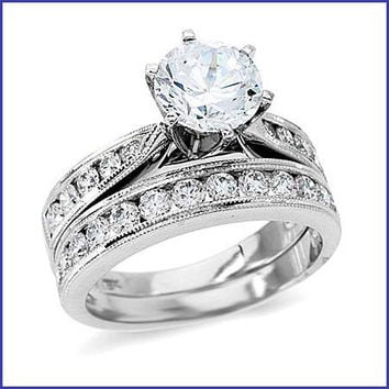 Gregorio 18K White Gold Diamond Engagement Ring and Band R-139